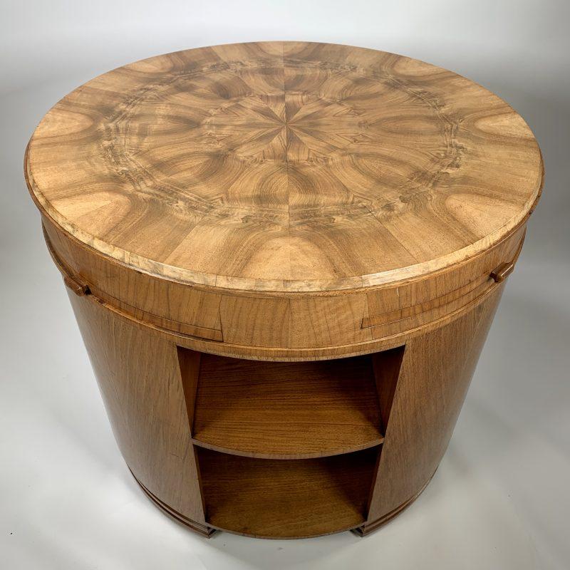 Art Deco Walnut & Birds Eye Maple Library Table