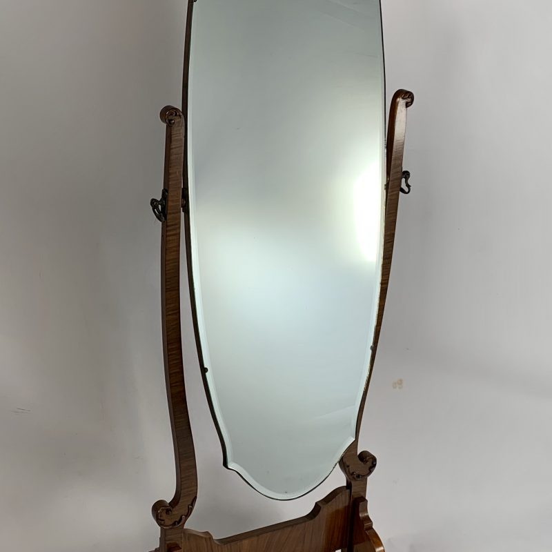1930s Walnut Cheval Mirror