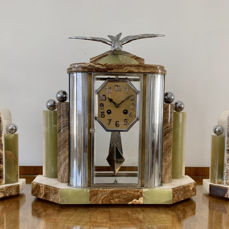 Art Deco French Clock with Garnitures