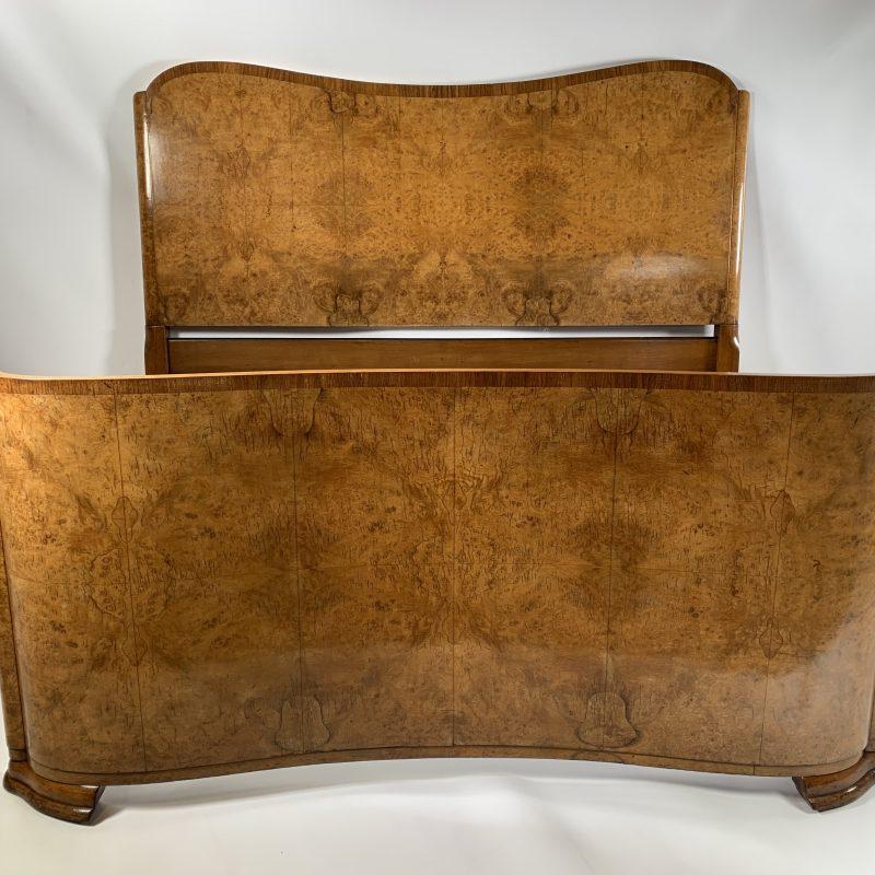 Art Deco Burr Walnut Double Bed