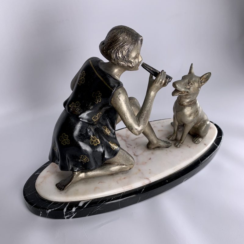 Art Deco Sculpture of Girl with a Dog by Geo Maxim