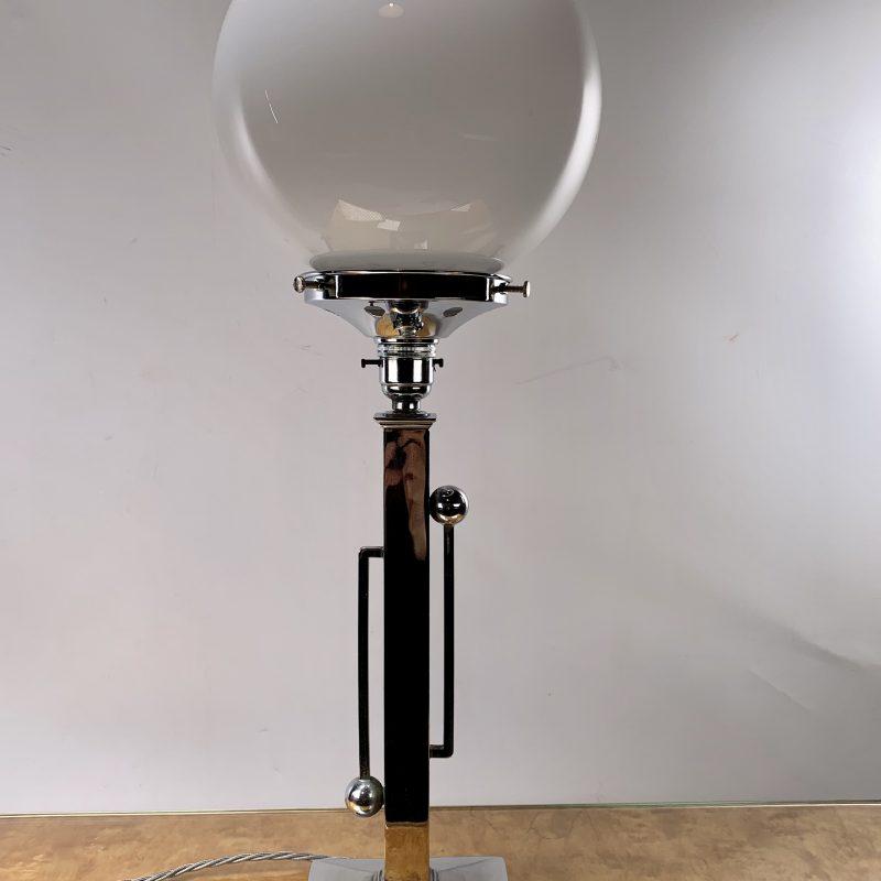 Art Deco Chrome Light with White Globe Shade