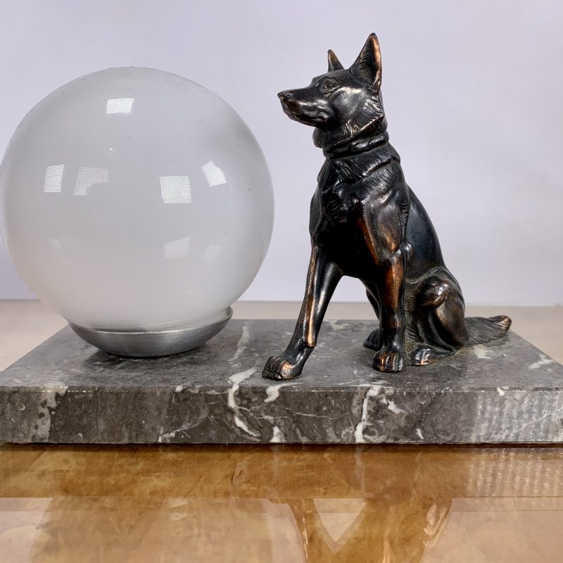 French Art Deco Alsatian Mood Lamp