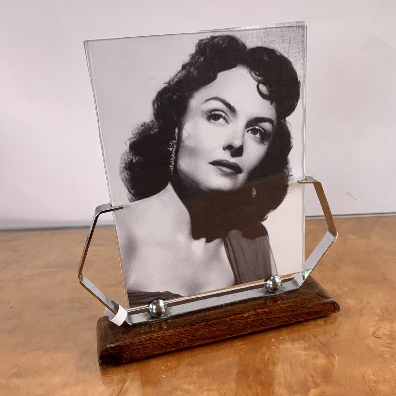 Art Deco Chrome Photo Frame with Wooden Base