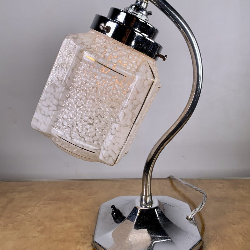 Art Deco Chrome Lamp with White Shade