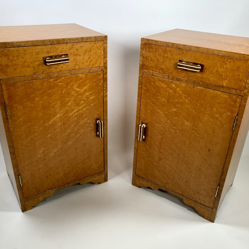 Pair of Bird's Eye Maple Bedside Cabinets