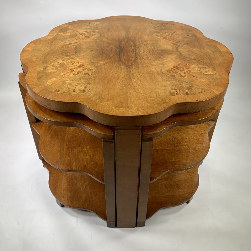 Nest of 5 Art Deco Burr Walnut Epstein Tables
