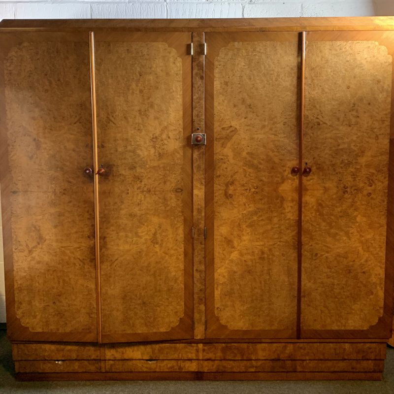 Art Deco Burr Walnut Compactom Wardrobe