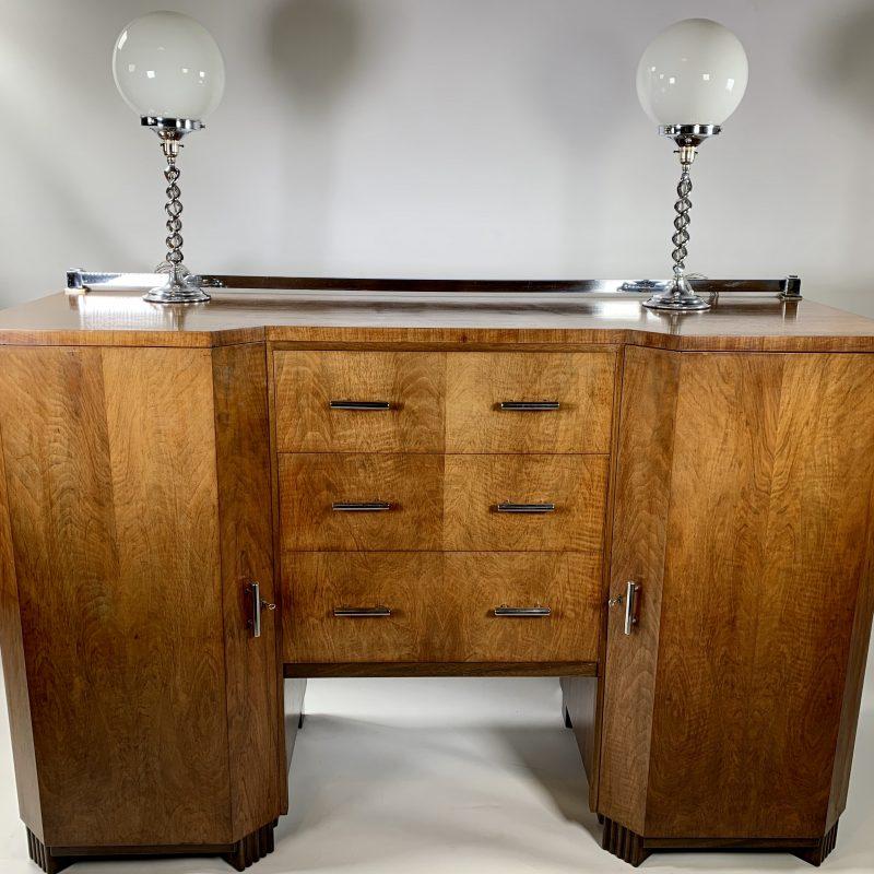 Art Deco Walnut Sideboard with Chrome Bar