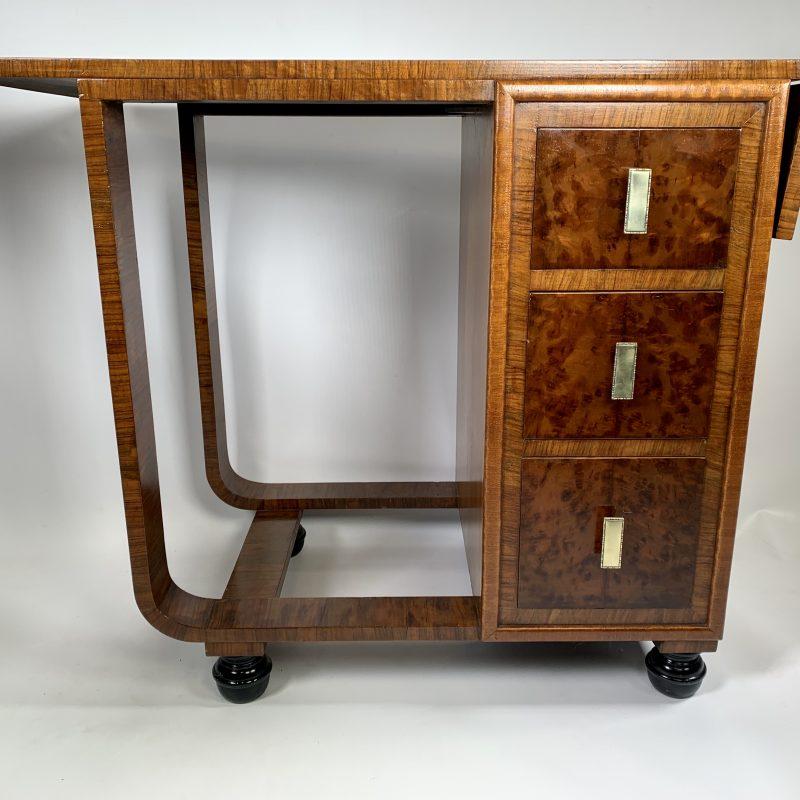 Art Deco Walnut Table with a drop leaf