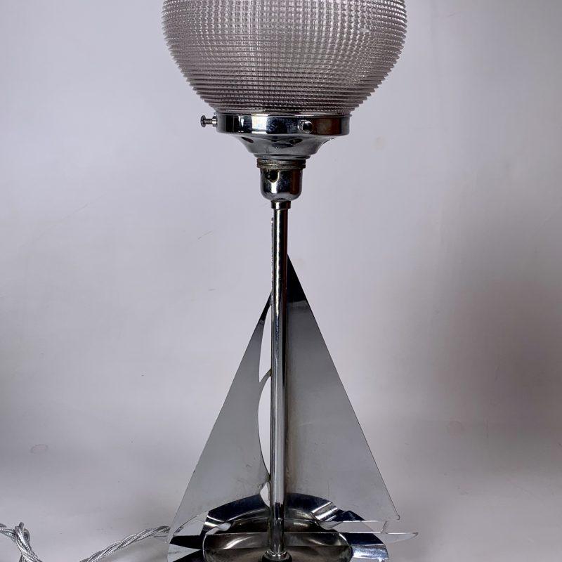 Art Deco Chrome Yacht Lamp with Holophane Shade