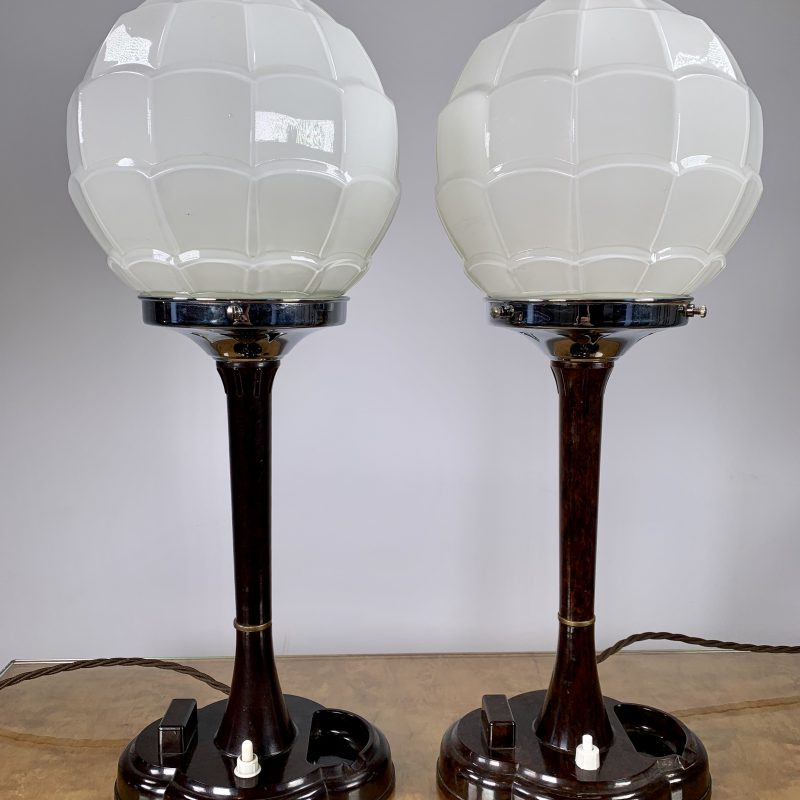 Art Deco Pair of Bakelite Lamps with Scalloped White Glass Shades