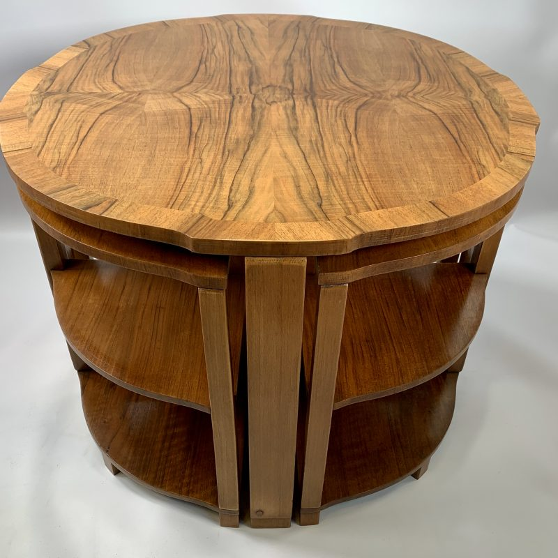 Art Deco Epstein Walnut Nest of 5 Tables