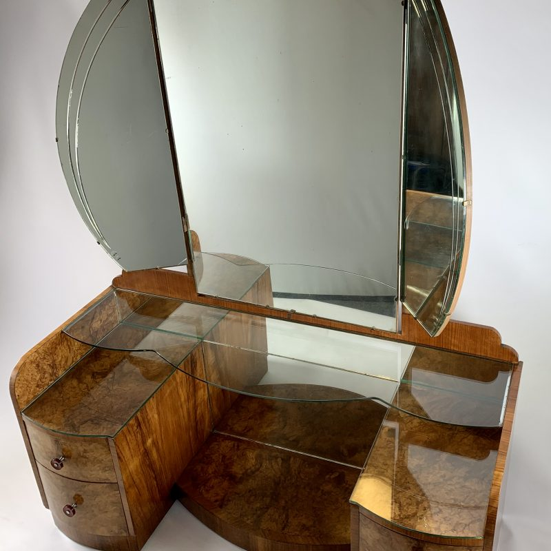Art Deco Walnut Dressing Table by Compactom