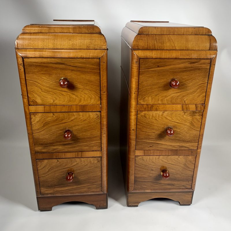 A Pair of Art Deco Walnut Bedside Cabinets