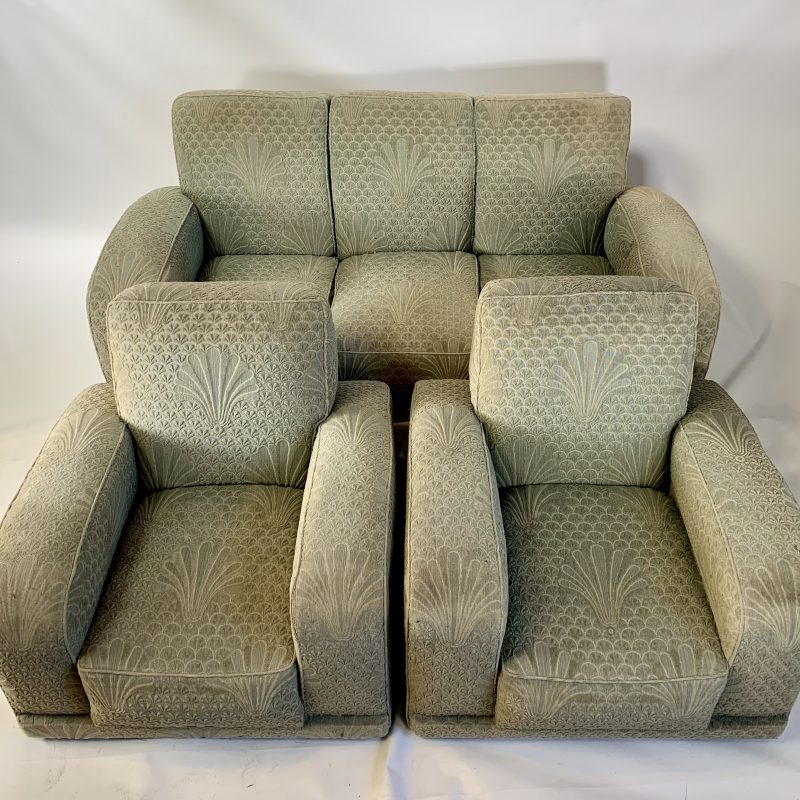 Art Deco Tank Three Piece Suite for Reupholstery
