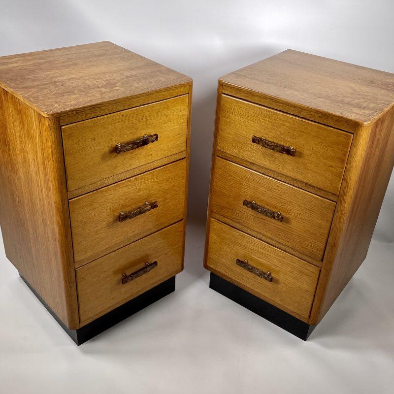 A Pair of Art Deco Oak Bedside Cabinets