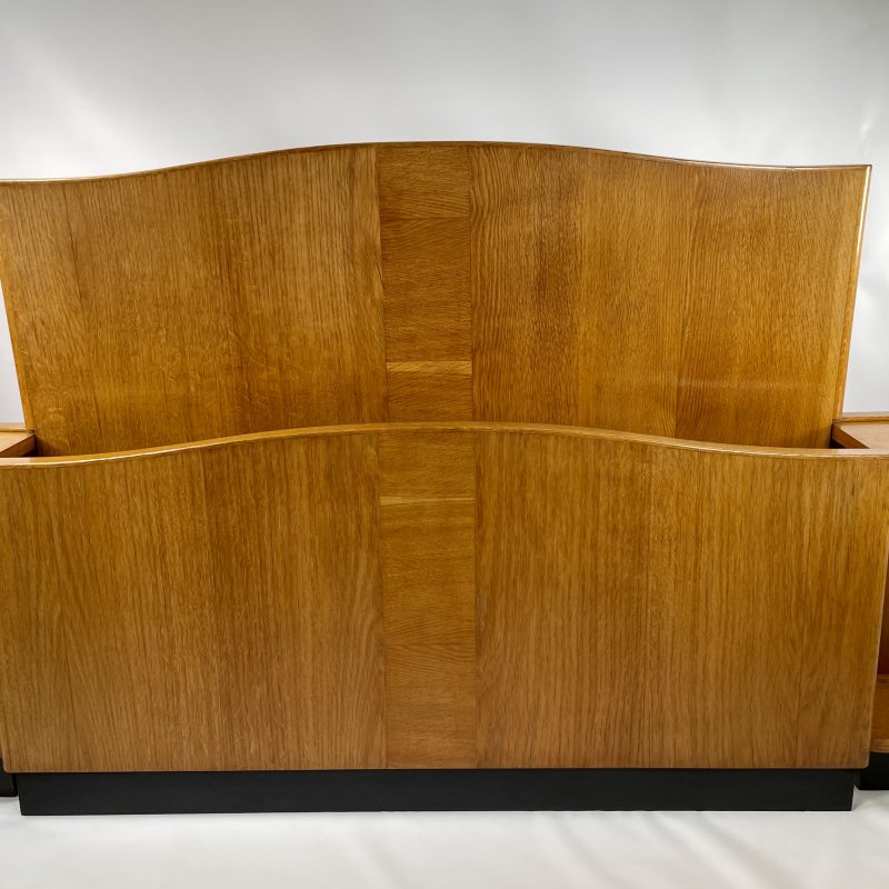 Art Deco Bed with attached Bedside Tables
